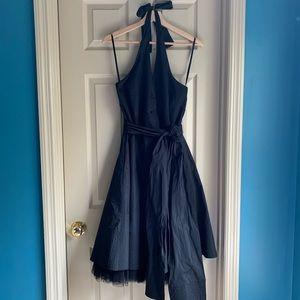 BCBG Max Azria 10 Black Button Up Halter Dress